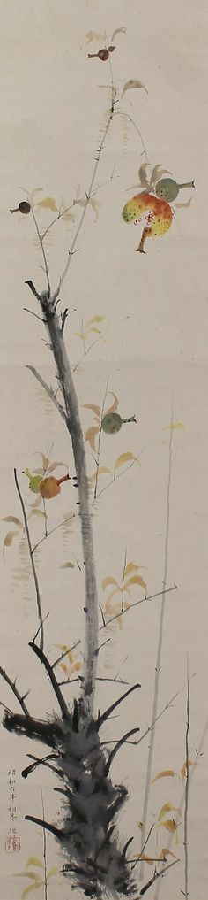 Pomegranate, Kawakami Setsui (- 1976). in early winter in 1931. Japanese hanging scroll painting.