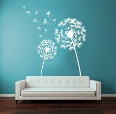 29 - Dandelion Wall Decals Flower Blossom Flowering Art Mural Vinyl Decal Sticker Kids Living Room Interior Design Decor KG729