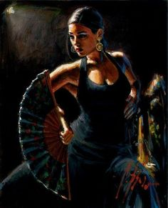 Fabian Perez Celina con Abanico II painting is shipped worldwide,including stretched canvas and framed art.This Fabian Perez Celina con Abanico II painting is available at custom size. Fabian Perez, Dance Paintings, Paintings For Sale, Tango, Local Art Galleries, Spanish Dancer, Dance Art, Geisha, Art Gallery
