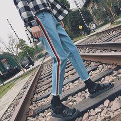 Big Deals $27.23, Buy Spring summer 2017 original personality nine points cowboy pants side stripe wide-legged loose light blue slacks package mail
