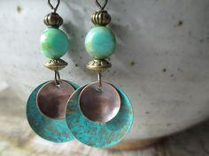 Czech Glass Earrings Patina Earrings Boho Earrings Turquoise Earrings Dangle Earrings Jewelry Small Earrings by MillyLillyDesigns on Etsy