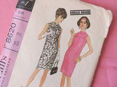 1960s Cowl Neck Shift Dress Pattern  Vintage by ErikawithaK, $7.00