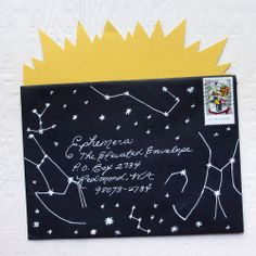 Inspiration: night sky constellations or a zodiac sign envelope. Mail Art Envelopes, Addressing Envelopes, Black Envelopes, Pen Pal Letters, Letter Art, Letter Writing, Envelope Design, Envelope Lettering, Gifts