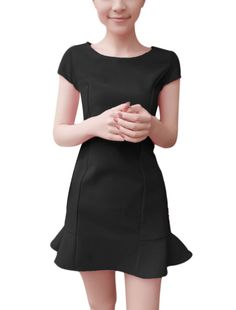 Allegra K Women's Ruffle Hem Cap Sleeves Slim Black Stretch Dress (Size S / 4)