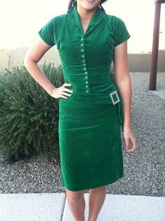 Green Velvet Vintage 1960's Party Wiggle Dress. $35.00, via Etsy.