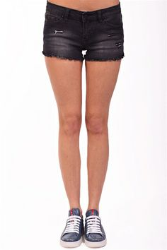 Distressed Cut Off Short- Black at Blush Boutique Miami - ShopBlush.com