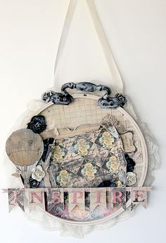 Artsy Addicts: Altered embroidery hoop.