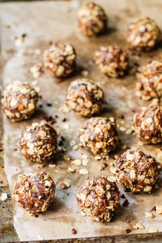 Oatmeal Peanut Butter Cookie Energy Bites with Chia and  Cacao Nibs http://www.ambitiouskitchen.com/2015/08/oatmeal-peanut-butter-cookie-energy-bites-with-chia-cacao-nibs/