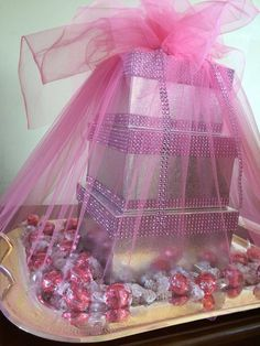 Silver & pink shirni boxes & tray filled with chocolates & nuqul. Used for Afghan