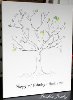 junkinjunky.blogspot.ca - thumbprint tree guestbook on canvas for bday, free template at OneFineDay, guest will put fingerprints on at party