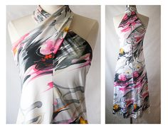60s 70s Floral Print HALTER Dress // by BlueHorizonVintage on Etsy, $28.00 #disco #halter #70s #vintageDress #midiSkirt #floral #hawaiianDress