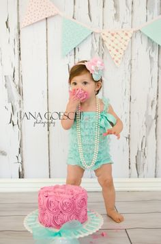 Baby girl turquoise ruffles big headbands and pearls on. but it is just so adorable. Cake smash first birthday Birthday Cake Smash, Baby 1st Birthday, First Birthday Parties, First Birthdays, 1st Birthday Outfit Girl, 1st Birthday Pictures, Birthday Ideas, Cake Smash Photos, Smash Cakes