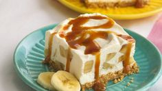 You'll go bananas for this frozen dessert with pudding-flavored yogurt in a graham cracker crust and topped with sweet caramel.
