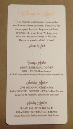 Wedding Weekend / Program / Itinerary / by DarbyCardsNashville