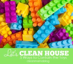 Contain and corral the overflowing toys in your home with these easy tips via Clean Mama