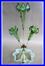 Victorian Green vaseline glass Epergne 1880