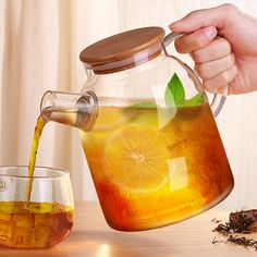 Creative Glass Water Pot BPA Free Tea Glass Water Bottle with Bamboo Cap Stainless Steel Glass Kettle Water Tumbler Tea Bottle
