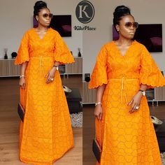 he Eid Collection.Our Maxi in Orange! To order send us a DM or WhatsApp Be Kikswoman👌 Long African Dresses, African Lace Styles, Ankara Short Gown Styles, Latest African Fashion Dresses, African Print Dresses, African Print Fashion, Africa Fashion, African Traditional Dresses, African Attire