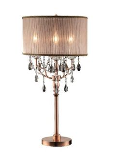 Found it at Wayfair - Rosie Crystal Table L& in Gold  sc 1 st  Pinterest & TRIBECCA HOME Noble 3-light Chrome Crystal Silk Shade Table Lamp ... azcodes.com
