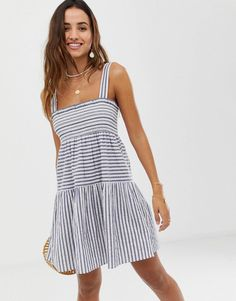 DESIGN shirred trapeze mini cotton sundress in stripe. Casual Summer  DressesSummer Dress OutfitsCasual Dresses For WomenCute ... 2c41da9b2113