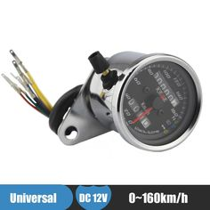 Silver Motorcycle Cafe Racer Speedometer Odometer Gauge 0-160km/h Instrument with LED Indicator