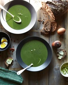 Stinging Nettle and Spring Garlic Soup / photo by Andrea Gentl