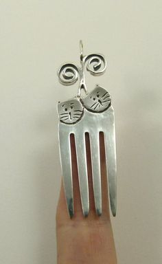 Fork Cats Lola And Spike  Sterling Silver Fork And by robinwade  Lola and Spike are not your average fork cats. They bless others with laughter, support, and random licks of kindness. Both have hearts of courage and wear coats of creativity.