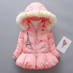 Buy Eiffel Tower Pattern Hooded Puffer Coat online with cheap prices and discover fashion Jackets / Outerwear at Popreal.com.