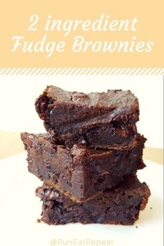 Fudgy chocolate brownies- my all time fav! No Bake Brownies, No Bake Bars, Fudgy Brownies, 2 Ingredient Fudge, Chocolate Chunk Brownies, Cookie Desserts, Yummy Cookies, Brownie Recipes, Delicious Desserts