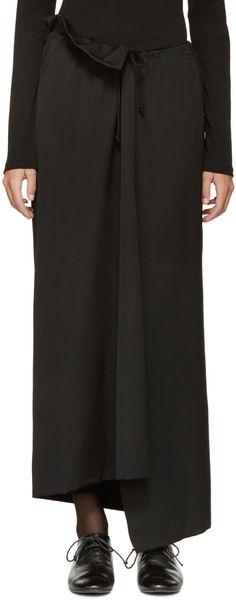 Yohji Yamamoto Black Slit Bias Skirt