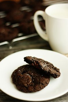Dark Double Chocolate Cookies with Sea Salt by Not Your Momma's Cookie