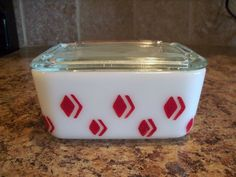Vintage McKee Red Diamond Check Milk Glass Leftover/Refrigerator/Drippings Box  #DrippingsJar #Mckee
