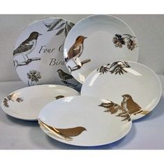rosanna four calling birds salad plates, birds, gold, white, nature