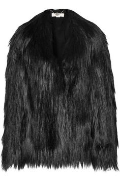"""""""Stella McCartney's black fake fur jacket is that ultimate rock chic coverup and the kind of one you always see Kate Moss in. This is the piece that will have your friends lusting over and copying."""" – Sarah Rutson, Vice President of Global Buying #TheRutsonReport"""