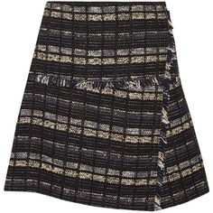 Proenza Schouler Cotton-blend bouclé-tweed mini wrap skirt ($403) ❤ liked on Polyvore featuring skirts, mini skirts, black, saias, proenza schouler skirt, black skirt, black mini skirt, colorful skirts and multi colored skirt