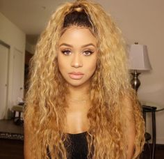 Peruvian Hair Blond With Black Root Color Fashion Lace Front Wig Curly – Lux Hair Shop Blonde Ombre Hair, Blonde Hair Girl, Blonde Color, Pink Color, Ombre Color, Color Black, Kinky Curly Wigs, Long Curly Hair, Curly Hair Styles