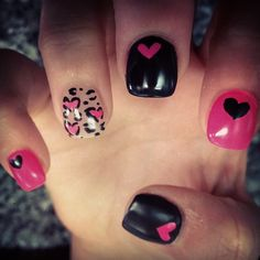 Pink and Black Heart Leopard Nails