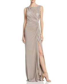 Adrianna Papell Sleeveless Lace Detail Gown | bloomingdales.com
