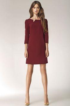 Tendance robes de soirée   Robe courte rouge bordeaux femme encolure fendue  NIFE S39 36 38 75c0d3ddde7e