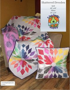 A foundation pieced pattern for a Quilt and Pillow. This is the quilt that was shown at Tula Pink's schoolhouse in Minneapolis, MN - Spring Quilt Market 2015