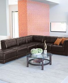 Stacey Leather Sectional Sofa 6 Piece Modular (3 Armless Chairs 2 Square Corners and Ottoman) - Furniture - Macyu0027s | New House | Pinterest | Sectional ... : stacey leather sectional sofa - Sectionals, Sofas & Couches