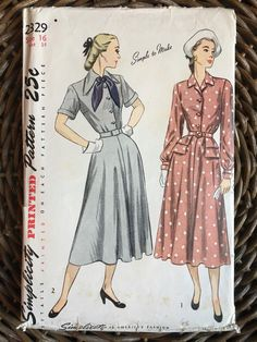 VTG 1940s Shirtwaist Afternoon Dress Flared Skirt Pattern 16/34/Simplicity 2329 | eBay