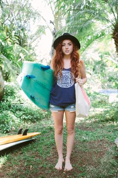 Kate in our Navy Lucky We Live Hawaii Tank. Photo: Nathan Smith