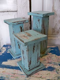 Large Distressed Pillar Candle Holders Hand Made Wooden Shabby Chic Cottage Blue…