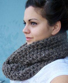Crochet Infinity Scarf- Barley Brown
