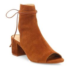 Schutz Binalia Cutout Suede Block-Heel Booties (3,665 MXN) ❤ liked on Polyvore featuring shoes, boots, ankle booties, ankle-boots, wood, suede ankle boots, cutout booties, short suede boots, cut out heel booties and ankle boots