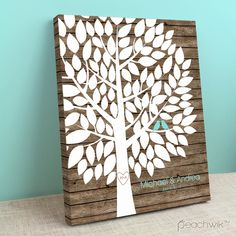 Rustic Wooden Wedding Tree Guest Book Alternative - Wedding Wish Tree - By Peachwik
