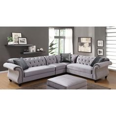 Shop for Furniture of America Dessie II Traditional Glam Tufted Flannelette Sectional Sofa. Get free delivery at Overstock.com - Your Online Furniture Shop! Get 5% in rewards with Club O!