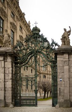 Beautiful baroque wrought iron gate - Würzburg, Germany - I walked through this gate many times. I LOVE this palace and this city. It is one of the most beautiful anywhere. chh