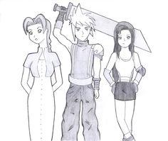Aeris, Cloud and Tifa from #FinalFantasy VII